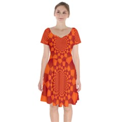 Fractal Artwork Abstract Background Orange Short Sleeve Bardot Dress