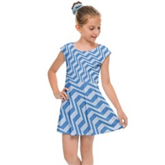 Geometric Blue Shades Diagonal Kids  Cap Sleeve Dress by Bajindul