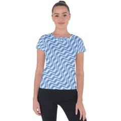 Geometric Blue Shades Diagonal Short Sleeve Sports Top  by Bajindul