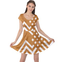 Wood Zigzag Texture Cap Sleeve Dress