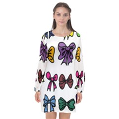 Bows Cartoon Ribbon Long Sleeve Chiffon Shift Dress  by Bajindul