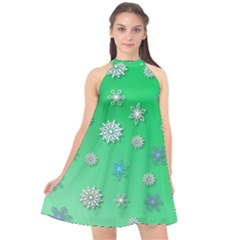 Snowflakes Winter Christmas Green Halter Neckline Chiffon Dress