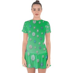 Snowflakes Winter Christmas Green Drop Hem Mini Chiffon Dress