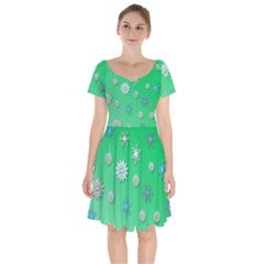 Snowflakes Winter Christmas Green Short Sleeve Bardot Dress