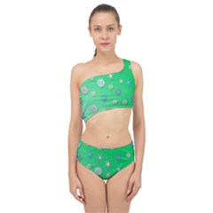 Snowflakes Winter Christmas Green Spliced Up Two Piece Swimsuit