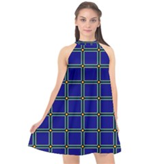 Background Pattern Design Geometric Halter Neckline Chiffon Dress  by Sudhe