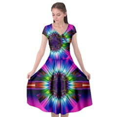 Abstract Art Fractal Creative Pink Cap Sleeve Wrap Front Dress by Sudhe