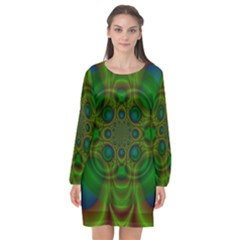 Abstract Background Design Green Long Sleeve Chiffon Shift Dress  by Sudhe