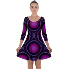 Abstract Background Design Purple Quarter Sleeve Skater Dress by Sudhe