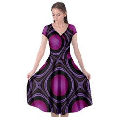 Abstract Background Design Purple Cap Sleeve Wrap Front Dress