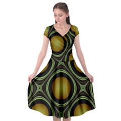 Abstract Background Design Cap Sleeve Wrap Front Dress by Sudhe