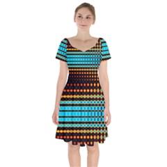 Signal Background Pattern Light Short Sleeve Bardot Dress by Sudhe