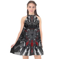 Abstract Artwork Art Fractal Halter Neckline Chiffon Dress