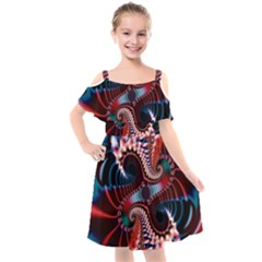 Abstract Fractal Artwork Colorful Art Kids  Cut Out Shoulders Chiffon Dress by Sudhe