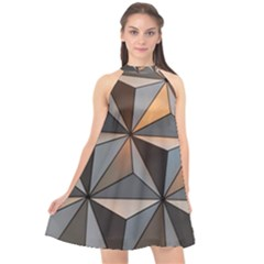 3d Abstract  Pattern Halter Neckline Chiffon Dress  by Sudhe