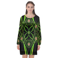 Artwork Fractal Allegory Art Long Sleeve Chiffon Shift Dress