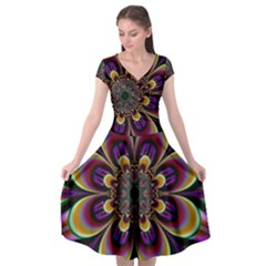 Abstract Flower Artwork Art Cap Sleeve Wrap Front Dress by Sudhe