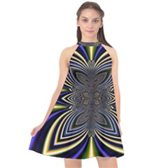 Abstract Artwork Fractal Background Halter Neckline Chiffon Dress  by Sudhe