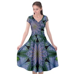 Abstract Flower Artwork Art Green Cap Sleeve Wrap Front Dress
