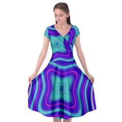 Abstract Artwork Fractal Background Blue Cap Sleeve Wrap Front Dress by Sudhe