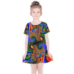 Abstract Fractal Artwork Colorful Kids  Simple Cotton Dress