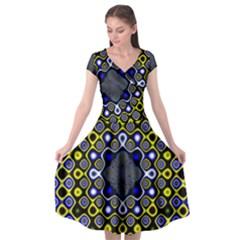 Digital Art Background Yellow Blue Cap Sleeve Wrap Front Dress
