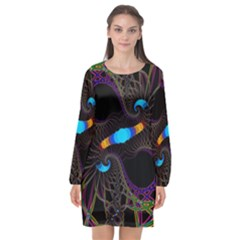 Fractal Artwork Abstract Background Long Sleeve Chiffon Shift Dress
