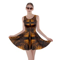 Background Pattern Yellow Gold Black Skater Dress