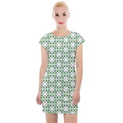 Green Leafs 3 Cap Sleeve Bodycon Dress