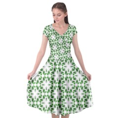 Green Leafs 3 Cap Sleeve Wrap Front Dress by TimelessFashion