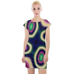 Abstract Artwork Fractal Background Art Pattern Cap Sleeve Bodycon Dress
