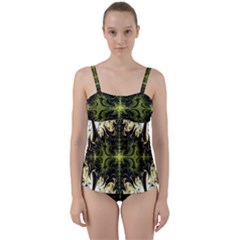 Abstract Fractal Pattern Artwork Twist Front Tankini Set by Sudhe