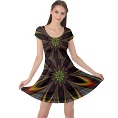 Fractal Artwork Idea Allegory Cap Sleeve Dress