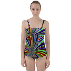 Background Design Pattern Colorful Twist Front Tankini Set by Sudhe