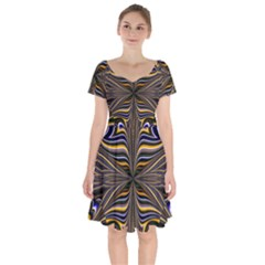 Abstract Art Fractal Unique Pattern Short Sleeve Bardot Dress by Sudhe