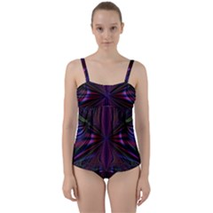 Abstract Abstract Art Fractal Twist Front Tankini Set by Sudhe