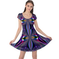 Abstract Art Fractal Fulcolor Cap Sleeve Dress