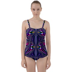 Abstract Art Fractal Fulcolor Twist Front Tankini Set by Sudhe