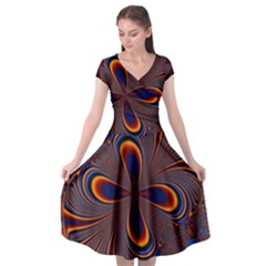 Abstract Fractal Background Pattern Cap Sleeve Wrap Front Dress