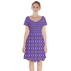 Background Pattern Geometrical Short Sleeve Bardot Dress by Sudhe