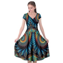 Abstract Art Fractal Creative Cap Sleeve Wrap Front Dress
