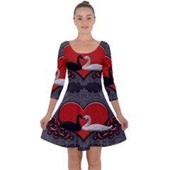 In Love, Wonderful Black And White Swan On A Heart Quarter Sleeve Skater Dress by FantasyWorld7