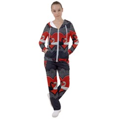 In Love, Wonderful Black And White Swan On A Heart Women s Tracksuit by FantasyWorld7