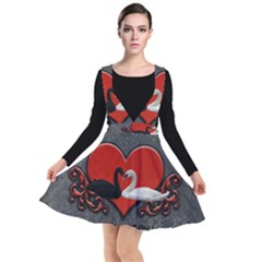 In Love, Wonderful Black And White Swan On A Heart Plunge Pinafore Dress by FantasyWorld7