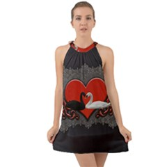 In Love, Wonderful Black And White Swan On A Heart Halter Tie Back Chiffon Dress by FantasyWorld7