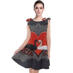 In Love, Wonderful Black And White Swan On A Heart Tie Up Tunic Dress by FantasyWorld7