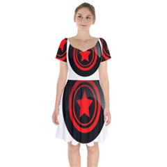 Star Black Red Button  Short Sleeve Bardot Dress by Pakrebo
