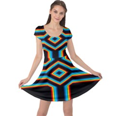 Cross Abstract Neon Cap Sleeve Dress