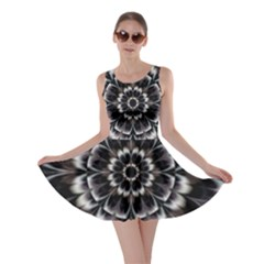 Abstract Digital Art Artwork Black White Skater Dress
