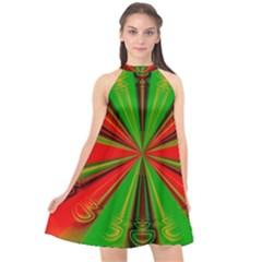 Abstract Art Fractal Modern Art Halter Neckline Chiffon Dress  by Pakrebo
